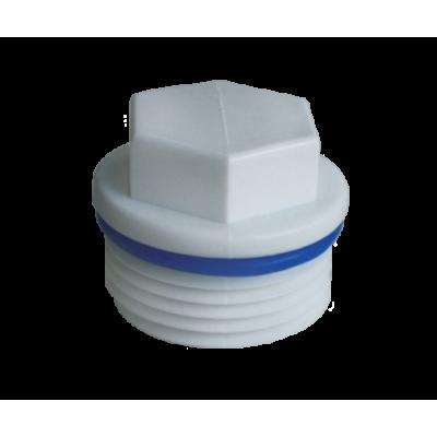 Заглушка полипропиленовая резьбовая с уплотнительным кольцом